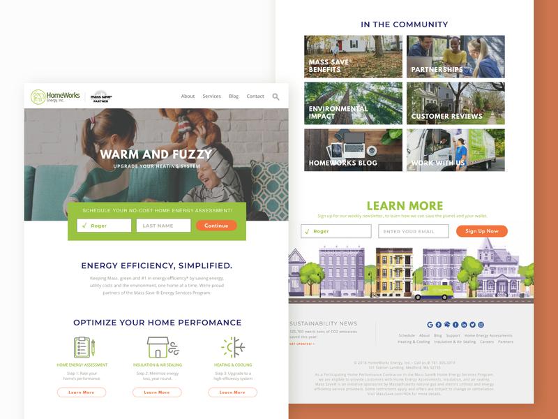 HomeWorks Energy – Landing UI animation vector green app footer design illustration web cms development webapp app branding brand typography illustrator green energy energy interface design ux ui ui ux