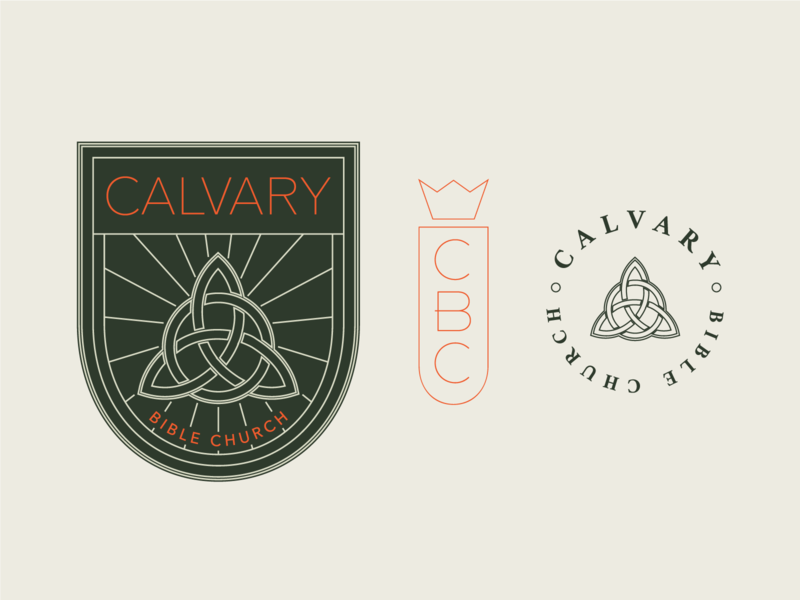 Calvary Bible Church – Brand Exploration 02 design illustration brand trinity vector branding logo church branding illustrator typography logomark badge green orange autumn church