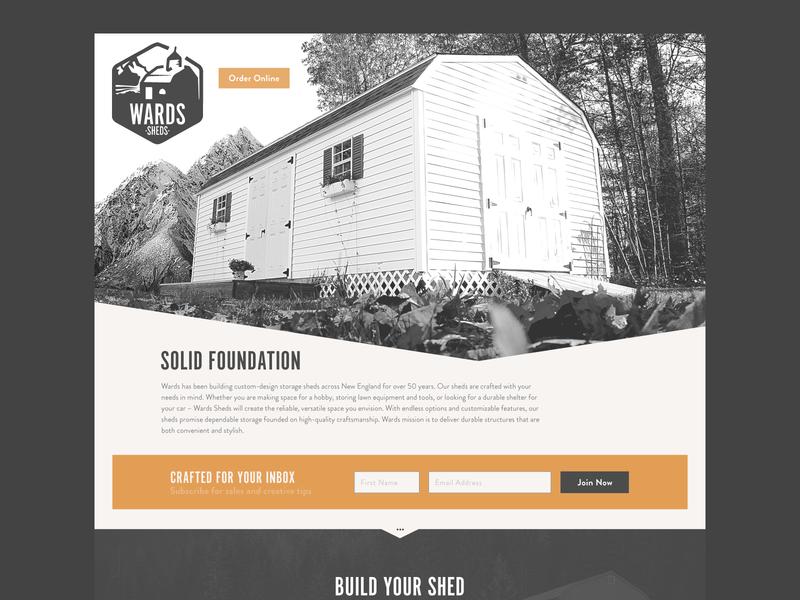 Wards Sheds Homepage orange app web logo branding illustration typography photography brand configurator ux ui updates
