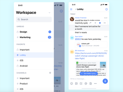 Workspace document messenger messages space work chat