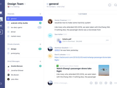 Collaboration Chat ios video share notifications news messaging login events find post comments feed