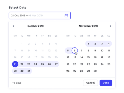 Calendar — Select Date forms date selector booking air flight ui calendar