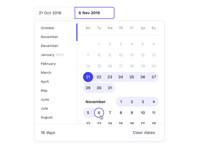 Calendar — Select Dates booking air flight forms calendar ui date datepicker