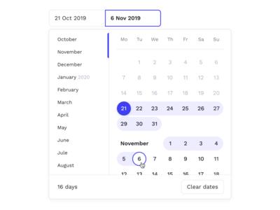 Calendar — Select Dates