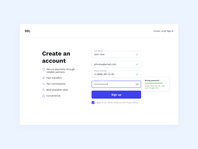 Sign Up - Create an account password input signin signup account create