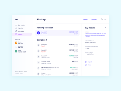 Transaction History ui website transfer exchange cryptocurrency crypto wallet crypto buy banking bank account
