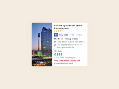 Booking — Hotel card ui rating booking.com search flight search search results card flight hotel booking