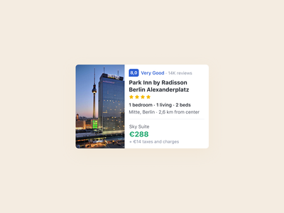 Booking — Hotel card airbnb ui rating search booking.com flight search search results card flight hotel booking