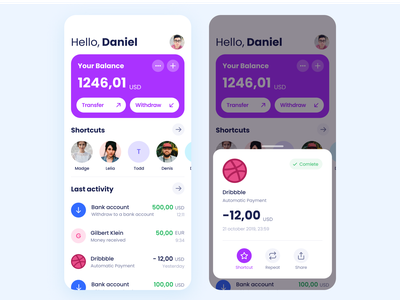 Wallet App money dribbble activity banking app banking bank account payment app payment withdraw transfer transaction wallet app wallet