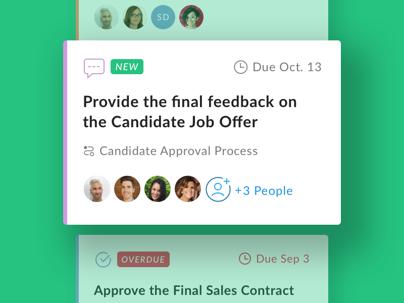 Relay Task Cards ui collaboration card automation workflow due approval content assignees task