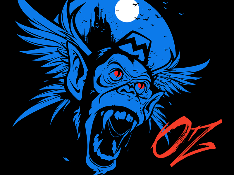 Oz Poster wizard of oz oz flying monkey brush monkey vector illustration