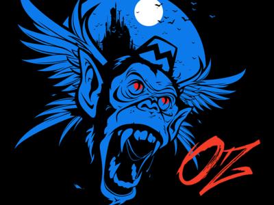 Oz Poster wizard of oz oz flying monkey brush monkey vector illustration