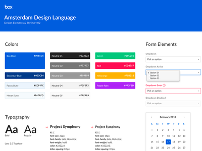 Box Design Language empty state date picker forms typography icon font ui system style guide