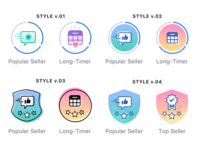 Commerce Badging Explorations gamification achievements badges popular like vector icon illustration badge commerce
