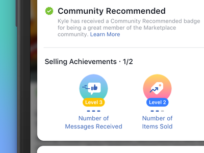 Facebook Community Commerce Badges community recommended c2c iconography achievements commerce badge