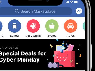 Cyber Monday Daily Deals Illustration facebook marketplace shopping bag bag vr deal shopping vector illustration