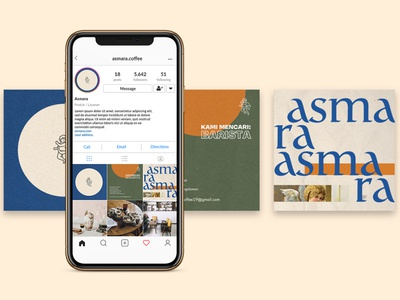Instagram Contents for Asmara Coffee instagram post social media logo branding design conceptual illustration illustration