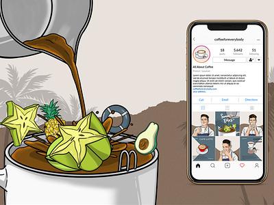 Coffee Shop Illustration Content instagram social media branding conceptual illustration illustration