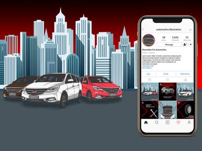 Automotive Illustration Content instagram post social media car design conceptual illustration illustration