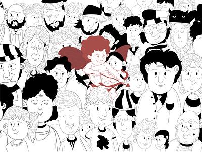 Cupid Illustration line drawing cupid valentines illustration