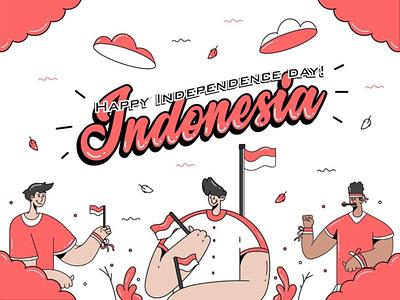 Independence Day Illustration indonesia portfolio independence day flat design vector design design art vector illustration vector illustration