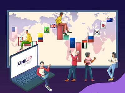 Trading Illustration vector design vector illustration flat design portfolio design art vector editorial design editorial illustration illustration