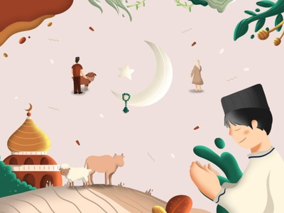 Eid Adha Illustration vector illustration portfolio editorial illustration editorial design flat design design art vector illustration