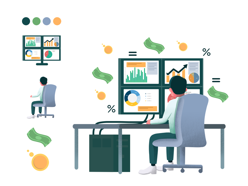 Editorial Illustration - Technical Analysis vector cryptocurrency crypto trading magazine illustration editorial design editorial illustration conceptual illustration illustration