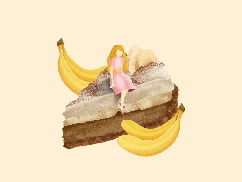 Banoffee Pie character concept color desserts cake cafe dessert branding dessert editorial design editorial illustration conceptual illustration illustration