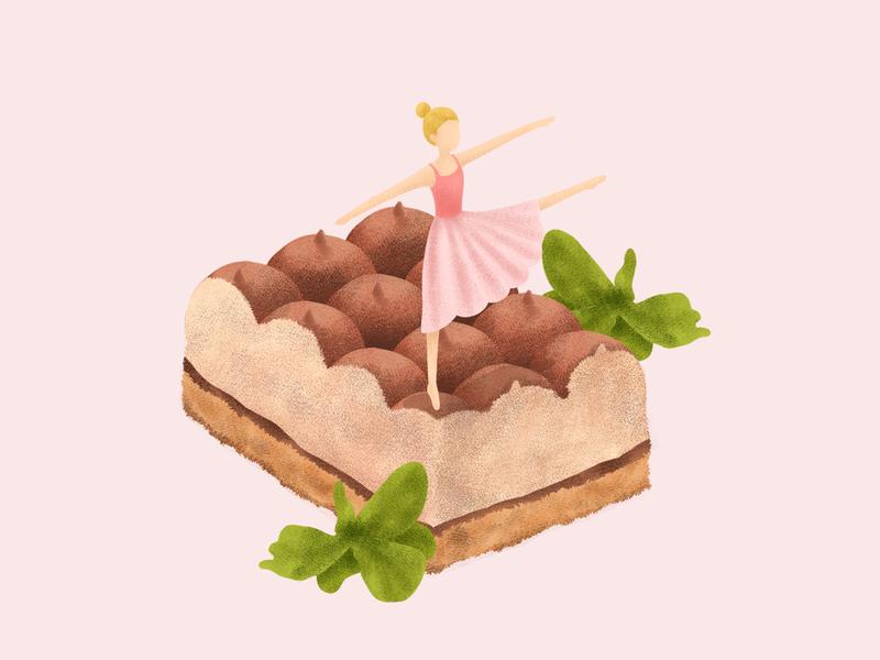 Tiramisu concept cake pink character cafe branding branding dessert cafe magazine illustration editorial design editorial illustration conceptual illustration illustration