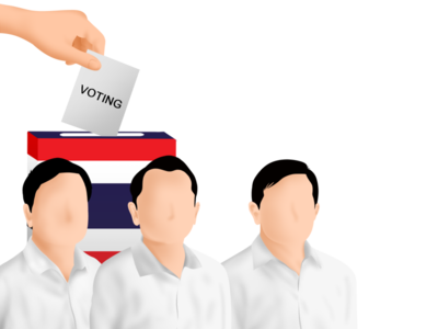 Thailand Voting Illustration cryptocurrency thailand political campaign politician political concept vector magazine illustration editorial illustration editorial design conceptual illustration illustration