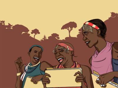 Happy Kenya People Illustration