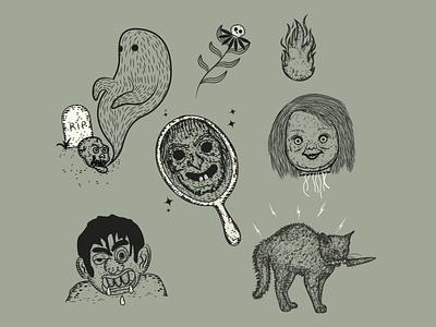 Happy Halloween illustration retro halloween digitalart vintage logo branding ilustration classic engraving design
