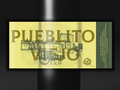 "Wine ""Pueblito viejo"" retro vintage town spain classic digitalart packaging illustration wine branding engraving design"