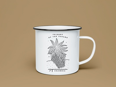 Paramo lovers retro vintage colombia logo ilustration branding mug plants nature adventure mountain engraving design