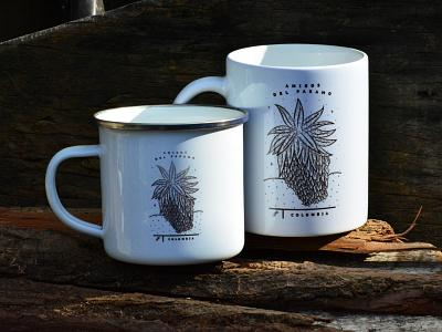 Cups digitalart retro logo branding engraving illustration plants natural design adventure mug design paramo mountain mug cup