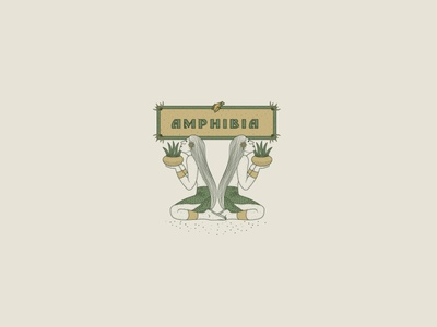 A M P H I B I A frogs frog logo classical brand and identity logotype logo nature illustration frog plants digitalart vintage engraving classic brand design brand identity branding nature logo nature brand design