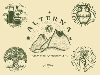ALTERNA vegan nature plants logo illustration classic branding engraving design
