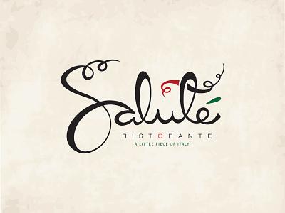 Salute restaurant italian handwriting logo logotype