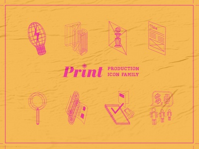 Print Production Icon Family (Wireframe-Style) texture vector layout design composition illustration icon icon set