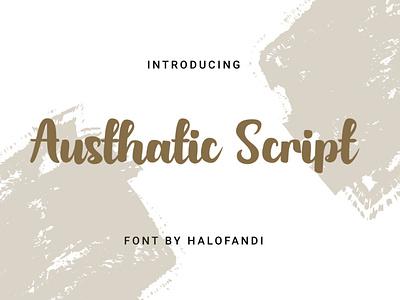 Austhatic Script Font font collection abc art letter classic creative calligraphy type handwritten lettering bold alphabet signature script font