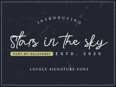 Stars in the sky Font script lettering typography type abc calligraphy alphabet handlettering scipt handwritting handwritten signature sign font