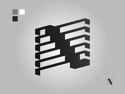 N letter logo abstact geometric black and white lettermark logo graphic design affinity designer n n letter n logo