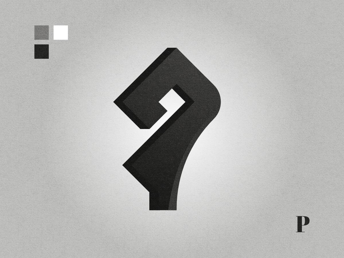 P letter logo black and white lettermark graphic design affinity designer logo letterp plogo p