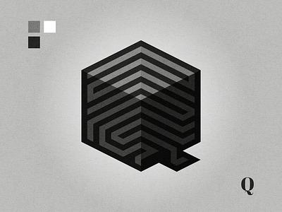 Q illustration maze geometric black and white lettermark affinity designer logo design graphic design logo letterq qlogo q