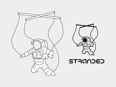Stranded 1 puppet astronaut space affinity designer outline vector black and white design illustration graphic design logo design logo