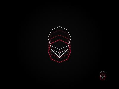 Neon Tech: Red red neon logo technology logo octagon geometric outline logo neon vector graphic design affinity designer logo design logo
