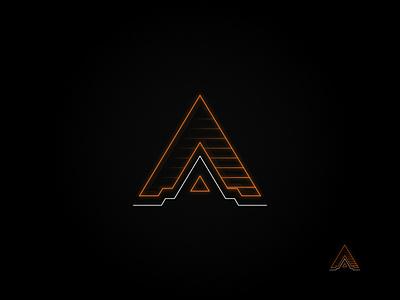 Neon Tech: Orange orange geometic stealth technology logo outline logo neon logo neon vector logo design logo graphic design affinity designer