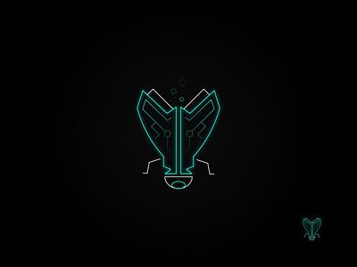 Neon Tech: Cyan cyan nanotechnology outline logo technology logo neon logo neon vector graphic design affinity designer logo design logo