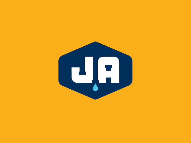 J Ando Plumbing Logomark pipes plumber graphic design design badge logotype typography logo mark logo design identity branding logo